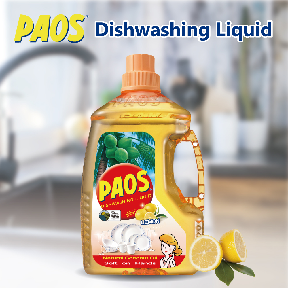 Hot seller PAOS PLANT BASED Lemon coconut oil dish washing liquid soap detergent for kitchen