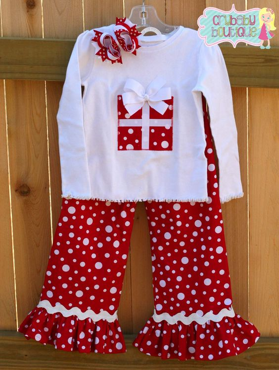 Fall and winter christmas red and white snow dots gifts girls festival boutique sets