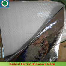 Single side silver aluminum metallized PE/PET coated foil woven heat reflective fabric