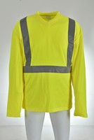 Fluorescent yellow color hi vis safety t-shirt with long sleeves