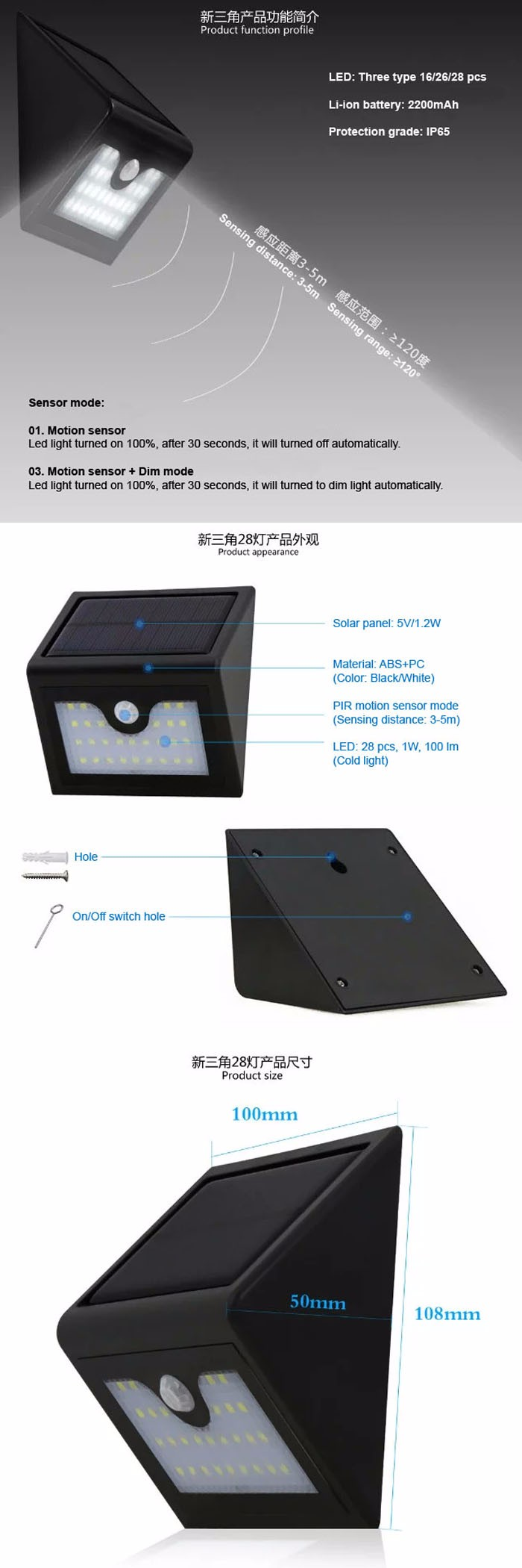 18650 Battery Solar Motion Sensor Led Light SDX-SL16 Wall Lamp Light With 16 Leds