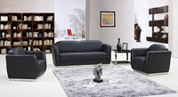 Modern leather sofa Black PU leather stainless steel base office sofa