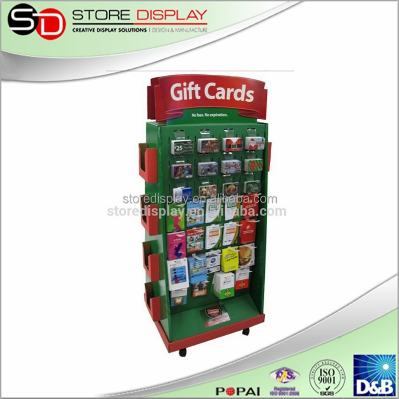 POP Cardboard Christmas Greeting Card Display Stand Shelf, Giveway/ Giftcard Display Stand, Rotating Jewelry Display with Pegs
