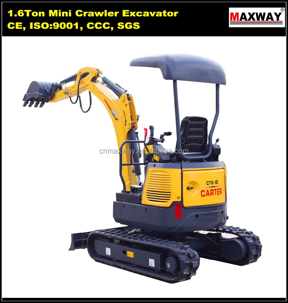 Cheap China Crawler 1.6 Ton Mini Hydraulic Excavator with High Quality , CE / ISO Certificate, CT16-9D