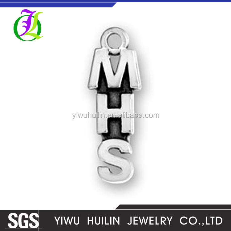 CN185699 Yiwu Huilin jewelry Custom letter charms MHS alphabet pendant for jewelry making