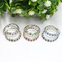 cheap shinning unisex fashion elastic casual wear zircon silver ring