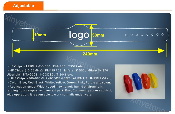 Dia 65mm Orange Color 125khz TK4100 RFID Wristband