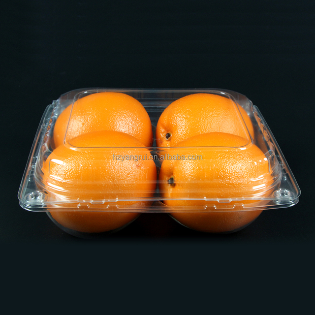 biodegradable PET clear clamshell plastic box with hinged lid for orange packaging