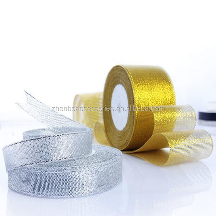 2017 Wholesale 10mm dold and sliver glitter organza ribbon for DIY handmade, gift packing, 250yards/roll