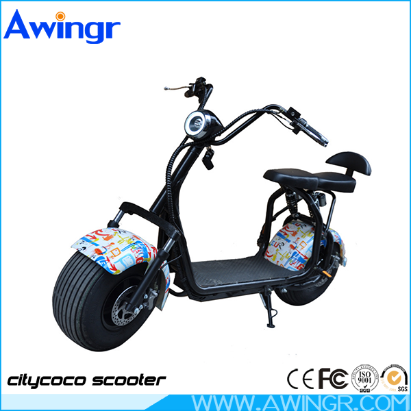 Most fashion harley citycoco 1500w two big brushless wheel electric scooter city coco