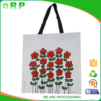 Personalised collapsible white red laminated pp woven shopping bag