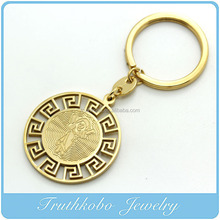 TKB-K0003 Religious Round Pendant Necklace Stainless Steel Metal 24K Yellow Gold Plating Silver-Plated Silver Key Chain Charm