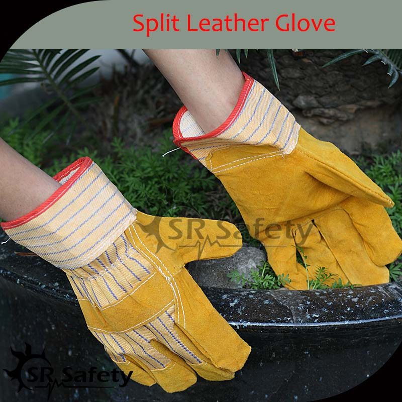 SRSAFETY Best cow split industrial leather gloves