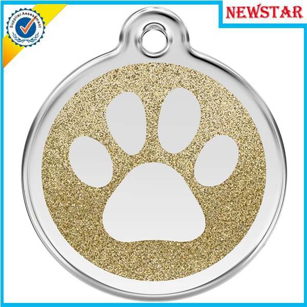 Glittering metal zinc alloy footprint design pet id tag