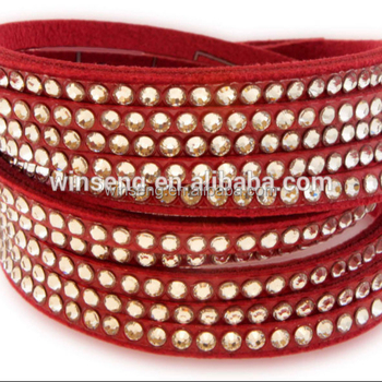 Wholesale 925 Fashionable Jewelry Gallant Red Leather Bracelet with Crystals