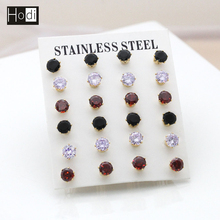 Daily Wear Single Stone Wholesale 14K Gold Stainless Steel Stud Earrings With Cheap Price