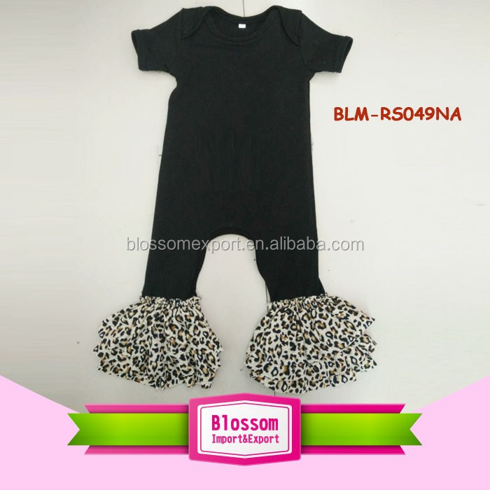 Girls Leopard Triple Ruffle Romper Short Sleeve Long Leg Black Baby Romper Oneise 2017 Baby Ruffle Rompers Wholesale
