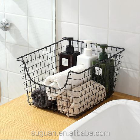 wire mesh faux leather potato storage basket