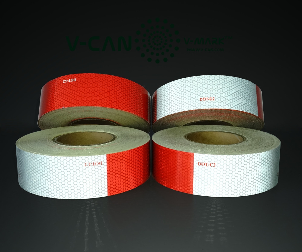 "Conspicuity Tape for Truck, Reflecting Conspicuity Red White Tape, 2"" x 150ft Roll Truck Tape, HI-INT-180012"