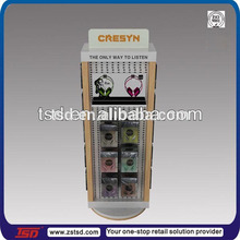 TSD-M021 China factory custom hot sale floor earphone display rack/metal headphone display/big rotating display stand