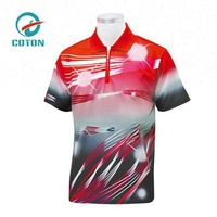 high quality short sleeve full zipper custom design logo polo darts shirt