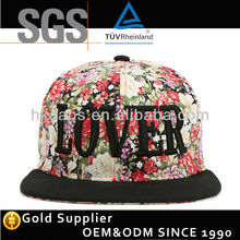 Women/Men Hip Hop Cap hat brim leather floral cap