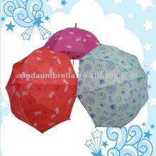 All Kinds of Child Soild Color Bell Full Printed Apollo Dome Shaped Child Umbrella with Hook Handle