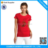 Customize Label Logo Fashion Design Women Tee Shirt Heat Transfer Print Elegant Picture