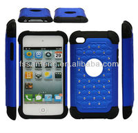 Best shockproof hybrid gel case for apple ipod touch 4/pc+silicon mobile cover for ipod touch 4 rubber/for ipod touch 4 case