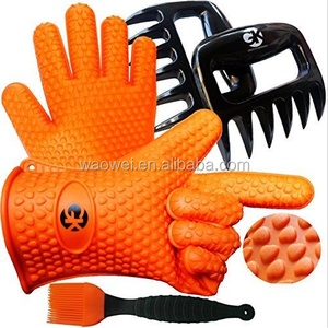 Silicone BBQ /Cooking Gloves and Meat Shredder claws Basting Brush silicone BBQ grill gloves set