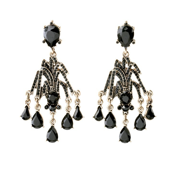 luxury black diamond bead earring, costume long drop black earring wholesale jewelry los angeles california