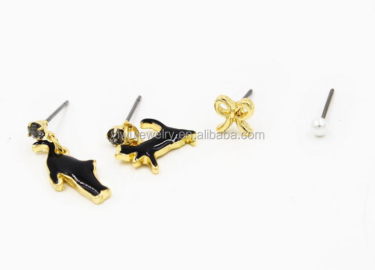 E794-<strong>100</strong> <strong>fashion</strong> latest girls gold enamel lucky cat earrings stud