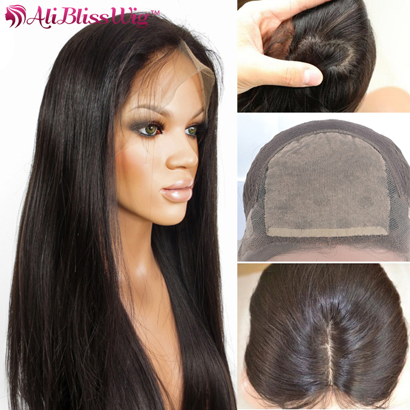 Hot Sale 22 Inch 150% Density 4x4 Silk Base Virgin Brazilian Long Black Straight Hair Silk Top Lace Front Wig With Baby Hair