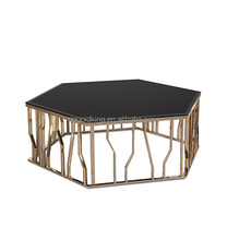 Brass colored tempered black glass coffee table