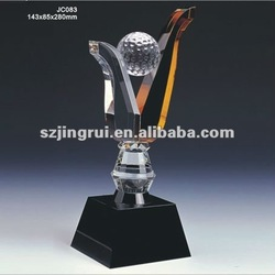 Unique design golf ball k9 crystal ball awards and trophies