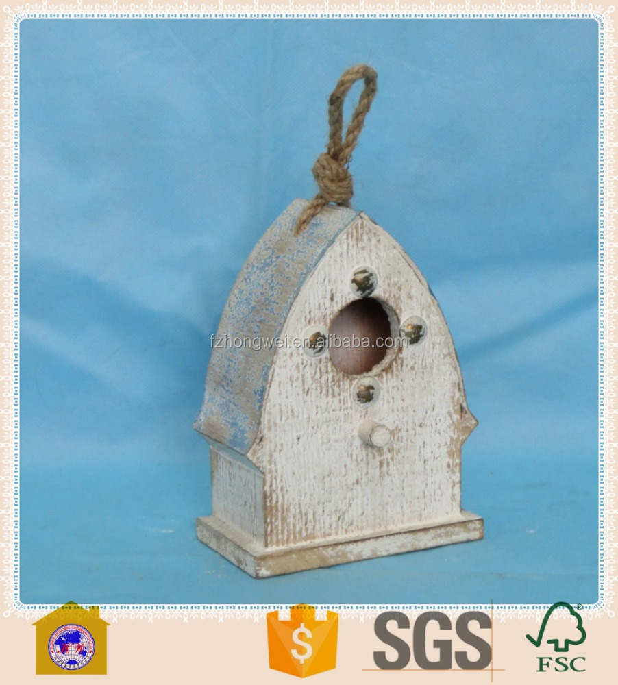 new design shabby chic small wooden crafts bird house for home&garden decor. HW15A00423