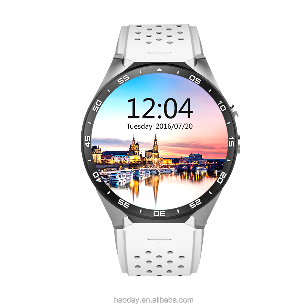 KW88 Smart Watch 1.39 Inch MTK6580 Quad Core 1.3GHZ Android 5.1 3G WIFI GPS Smart Watch 400mAh 2.0 Mega Pixel Heart Rate Monitor