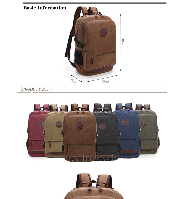 Hot quality big capacity back pack unisex rucksack schwarz vintage canvas backpack for men and women wholesale
