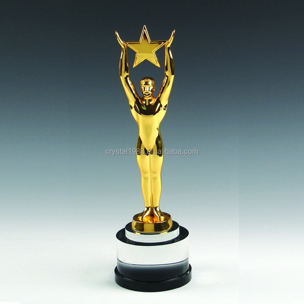 Oscar statuette trophy wholesale with k9 black crystal base