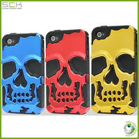 Latest 2 in 1 skull case for iphone 4/4s cool case for iphone 5