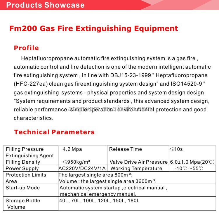 FM200 fireworks firing gas suspension system