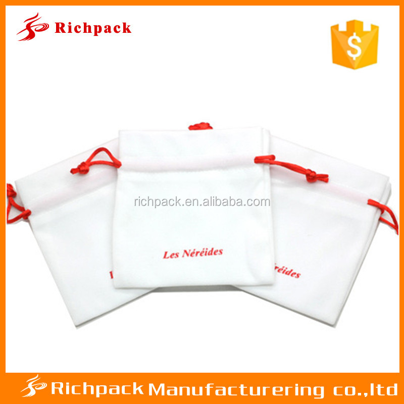 jewelry pouch/velvet jewelry pouch drawstring with printed logo wholesale