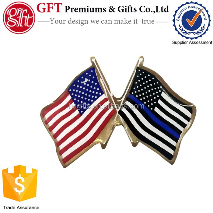 Factory price high quality custom design gold enamel Thin Blue Line American Flag Lapel Pin