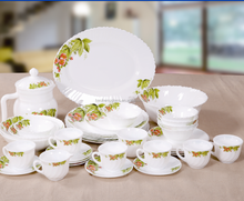 Colorful design 40pcs glass plates soup bowl and opal galss plates