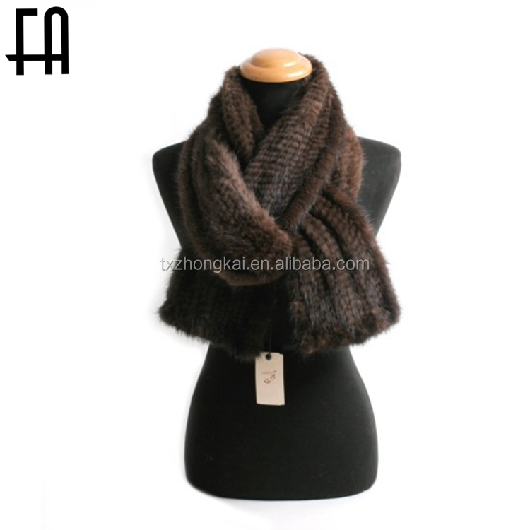 Factory direct wholesale warm mink knitted fur scarf