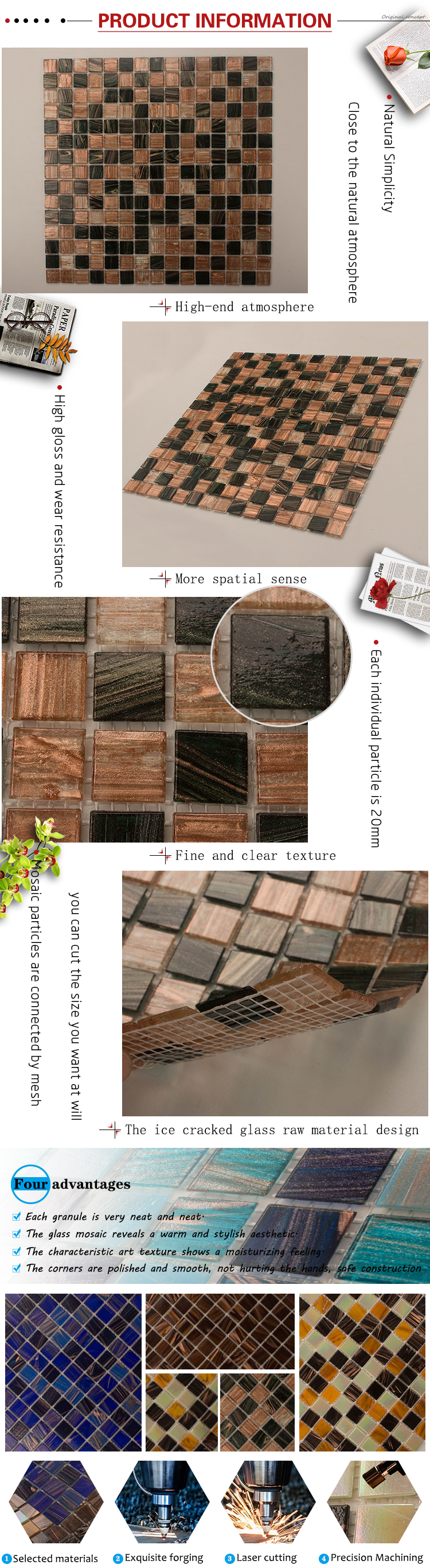Foshan GUCI homee modern waterjet square pool mosaic tile