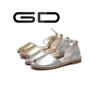 Genuine Leather material anti skid hemp bottom driving sandals flat for women