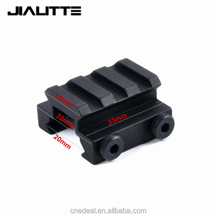 "Jialitte 1/2"" 3 Slots Low Riser 20mm Weaver Picatinny Rifle Short Side Rail Base Riser Scope Mount Rail Accessories J101"
