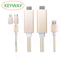 2 in 1 MHL HD MI Cable For Samsung Galaxy S8 / For Iphone 7 For Huawei Micro USB To HD MI Cable Adapter HDTV TV Connector