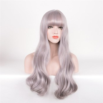 Hot Sale Fashion Grey Wavy Curl Long Hair Wigs Cosplay Wigs
